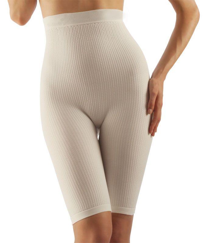 FarmaCell Masážní kalhotky nad kolena s vysokým pasem, mléčné vlákno Barva: Bílá, Velikost: S/M